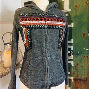 Lucky Brand Boho Embroidered Zip Up Hoodie